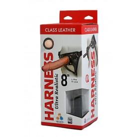"Насадка-фаллоимитатор на кожаных трусиках Harness Ultra Realistic 8"" - 20 см."